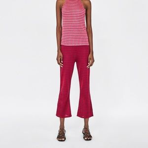 Zara Checked Houndstooth Flared Crop Trousers - S